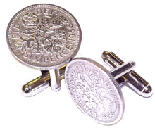 Lucky Sixpence Silver Coin Mens Birthday Gift year 1956 61st by CUFFLINKS DIRECT