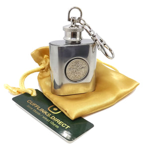 1965 Silver Key Chain Sixpence hip flask Birthday 54 Years Gift by CUFFLINKS DIRECT