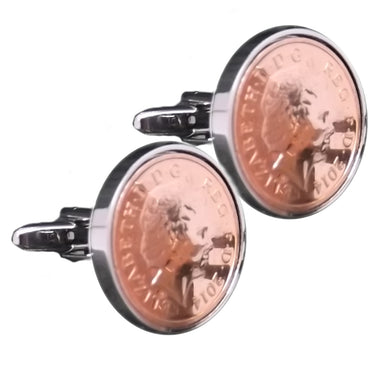 2014 One Penny Coins Set in Silver Setting Mens 5 Years Gift - CUFFLINKS DIRECT
