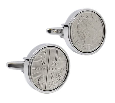 2015 head & Tail  5 pence Coins Set in Silver Setting Men Gift cufflinks by CUFFLINKS DIRECT