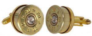 Shotgun 20 Gauge Shell Cartridge Cap Clay Game Shooting Mens Gift Cuff Links