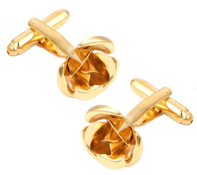 3D English Gold Flower Rose Wedding Cuff Links Mens Gift By CUFFLINKS.DIRECT