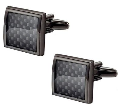 Black on Black Carbon Fibre Statement Gift Cuff Links by CUFFLINKS.DIRECT
