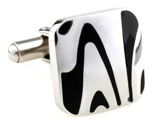 Unique Black Zebra Stripe Stainless Steel Mens Gift Cuff Links by CUFFLINKS DIRECT