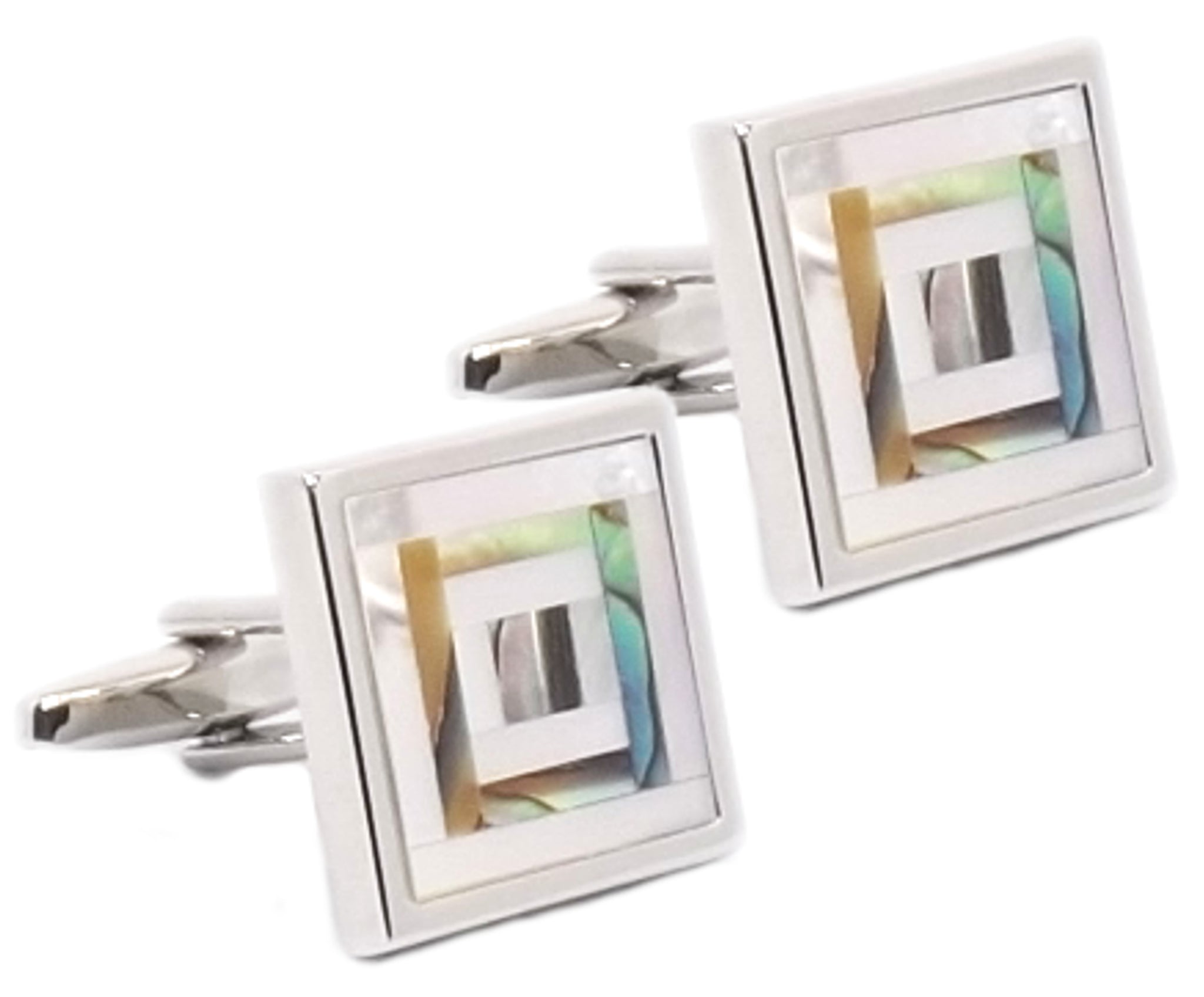 Abalone Mother Of Pearl Mosaic Mens Wedding Gift Cuff Links