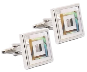 Abalone Mother of Pearl Mosaic Mens Wedding Gift cuff links - CUFFLINKS DIRECT