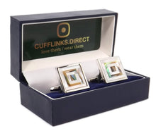 Abalone Mother of Pearl Mosaic Mens Wedding Gift cuff links - CUFFLINKS DIRECT with gift box