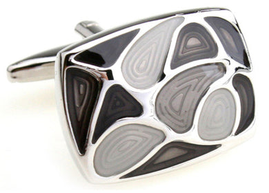 Shades of Grey Modern Enamel Rectangle Cufflinks Direct