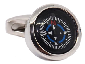 Orienteering Black Fully Functional Compass Cufflinks by CUFFLINKS DIRECT