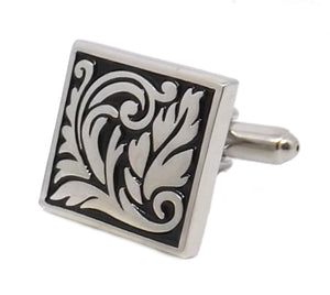 Artistic Leaf Design Silver & Black Square Mens Cuff links by CUFFLINKS DIRECT