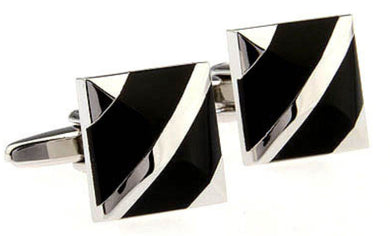 Modern Square Silver and Black Onyx Stone Cufflinks  by CUFFLINKS.DIRECT