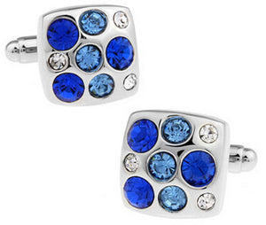 Quality Mens Silver & Blue Crystal Square Wedding Cufflinks by CUFFLINKS DIRECT