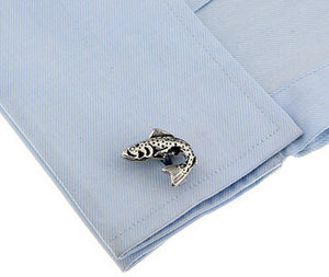 Salmon Trout Angling Fishing Rod Silver Fish Gift Cufflinks  by CUFFLINKS DIRECT