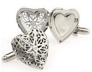 Elegant Heart Locket Keep Sake Silver Rhodium Wedding Cufflinks Direct