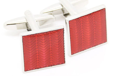 Simple & Stylish Hard Wearing Square Red Enamel Inlay Cufflinks