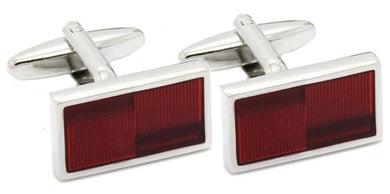 Modern Dark Red Enamel & Silver Mens Cuff links by CUFFLINKS DIRECT