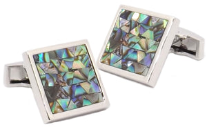 Multi Coloured Abalone Shell Mosaic Square Mens Gift Cufflinks by Cufflinks Direct