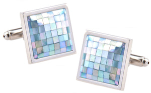 Square Blue Mother of Pearl MOP Shell Mosaic Shirt Cuff links - CUFFLINKS.DIRECT