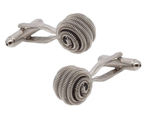 Silver Coiled Spring Knot Mens Wedding Gift Cuff links by CUFFLINKS DIRECT