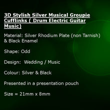3D Stylish Silver Musical Groupie Cufflinks ( Drum Electric Guitar Music)