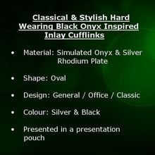 Classical & Stylish Hard Wearing Black Onyx Inspired Cufflinks