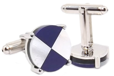 Blue & White Mother of Pearl Mens Wedding Gift Cuff links by CUFFLINKS.DIRECT