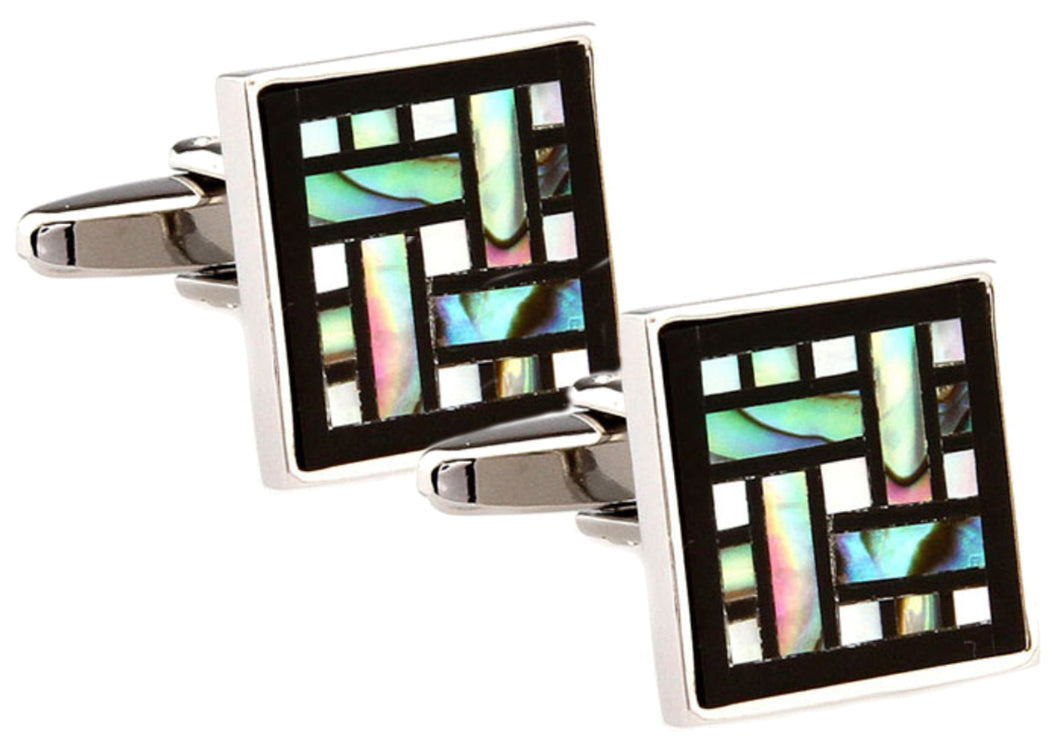 Unique Abalone Shell & Black Onyx Square Mens Wedding Gift by CUFFLINKS DIRECT