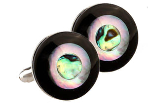 Unique Abalone Mother of Pearl & Black Onyx Round Mens Gift Cuff Links by CUFFLINKS DIRECT
