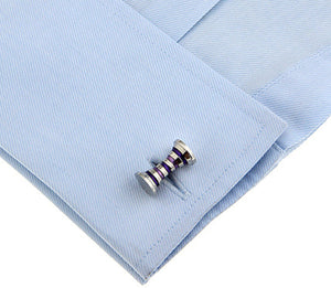 Silver Purple Mens Cufflinks Dress Shirt Wedding Cuff Links  by CUFFLINKS.DIRECT