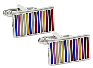 Rainbow Stripe Rectangle Enamel & Silver Mens Cuff links by CUFFLINKS DIRECT