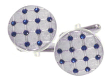 NEW Hard wearing Brushed silver and Blue crystal Cufflinks by CUFFLINKS DIRECT