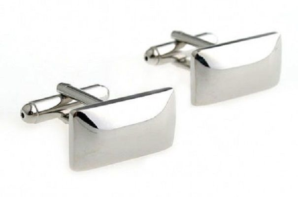 Classical Polished Silver Rectangle Men's Gift Cufflinks by CUFFLINKS.DIRECT