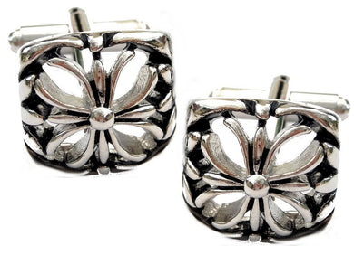 Silver Vintage Style Carved Flower Men's Wedding Gift by CUFFLINKS DIRECT