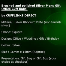 Brushed and Polished Silver Mens Gift Office Cuff links by CUFFLINKS DIRECT