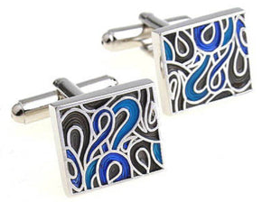 New Hard wearing Silver & Blue Swirl Enamel Mens Cuff links by CUFFLINKS DIRECT