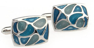 Elegant Aqua, Turquoise & Blue Swirl Enamel Mens Cuff links by CUFFLINKS DIRECT