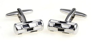 New Silver, Black and White Check Cylinder Enamel Cufflinks