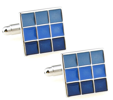 Classic Hard wearing Blue Enamel Mens Office Gift Cuff links by CUFFLINKS DIRECT