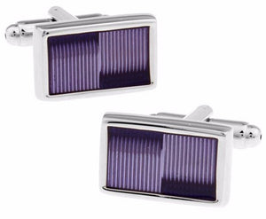 Modern Violet Purple Rectangle Enamel Cufflinks   by CUFFLINKS.DIRECT