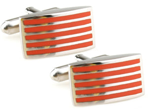 Orange Stripe Rectangle Enamel & Silver Mens Cuff links by CUFFLINKS DIRECT