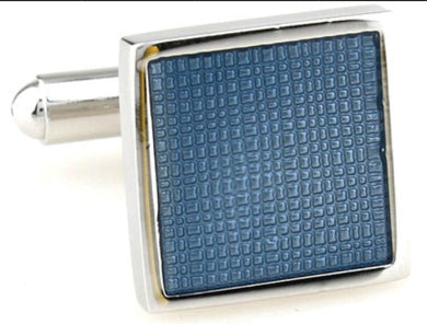 Corn Flower Blue Enamel Square Mens Gift Cufflinks Direct