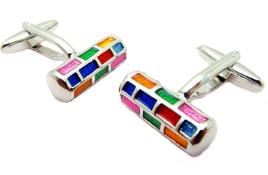 Multi Colour Rainbow Check Cylinder Enamel Mens Gift Cufflinks  CUFFLINKS.DIRECT
