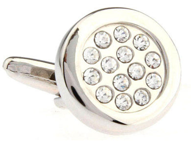 New Quality Round Clear  White Diamond CZ Crystal Cluster effect Hand Set Wedding Cufflinks Direct