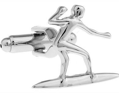 Mens Silver Surfer Surfing Surf Board Jewellery Cuff links by CUFFLINKS DIRECT