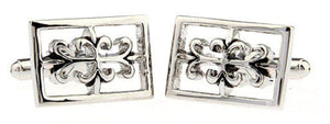 Unique Rectangle Gothic Inspired Silver Rhodium Cufflinks by CUFFLINKS DIRECT