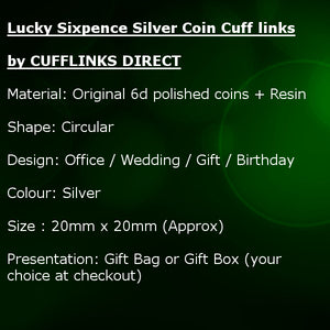 Lucky Sixpence Silver Coin Mens Birthday Gift year 1955 62nd by CUFFLINKS DIRECT