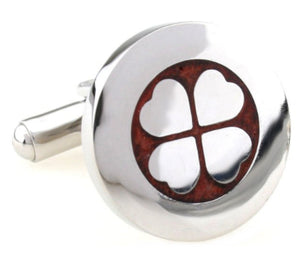 Luxury Mahogany wood Silver Lucky Clover Mens 5th Wedding Gift cuff links by CUFFLINKS DIRECT