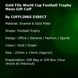 Gold Football Tournament Trophy Mens Wedding Gift Cuff links hand Finished and Enamelled by CUFFLINKS DIRECT