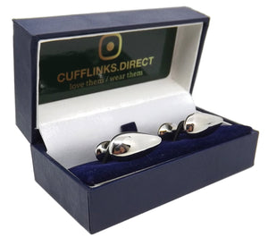 Stunning Silver Water Tear Drop Design Mens Gift Cuff links by CUFFLINKS DIRECT