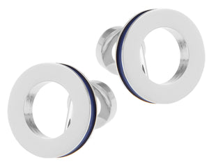 Abstract Blue Enamel & Silver Mens Gift Wedding Cuff Links by CUFFLINKS DIRECT